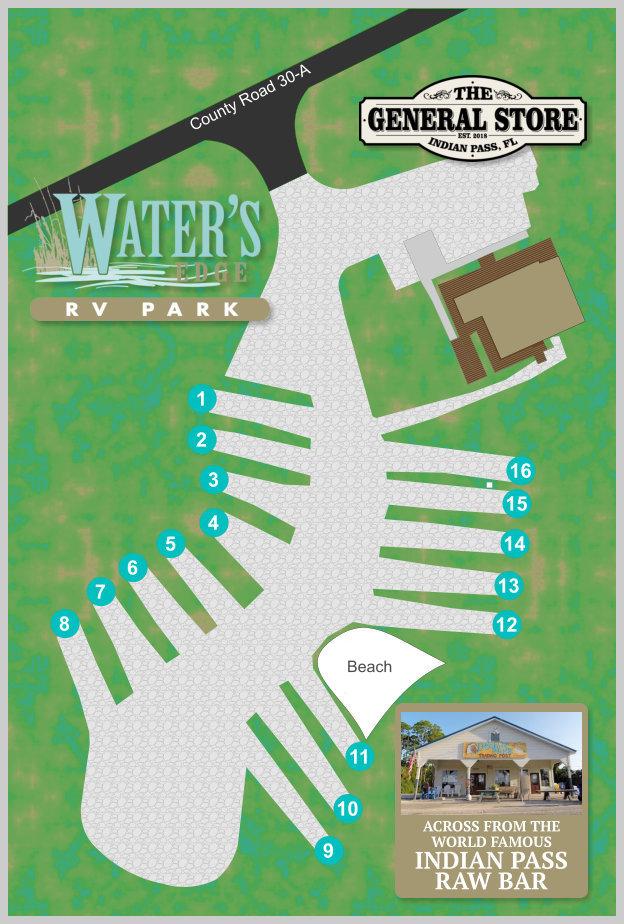 St Joe Florida Map.Park Layout Map Water S Edge Rv Park Indian Pass Cape San Blas